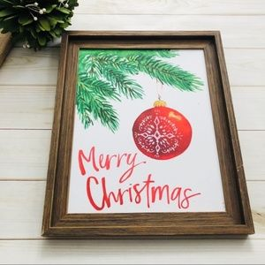 NEW Kirklands Merry Christmas Framed Wall Sign